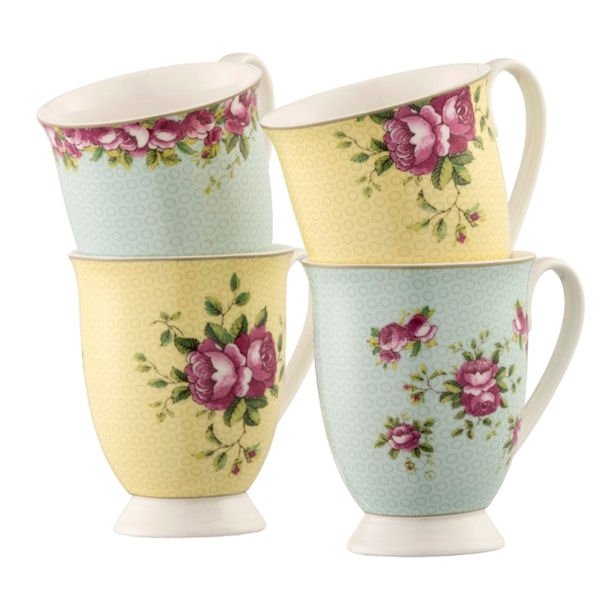 Aynsley Archive Rose Footed Mugs - Set of 4