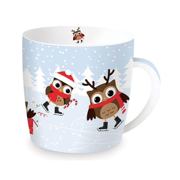Christmas Skating Owls Porcelain Mug in Tin