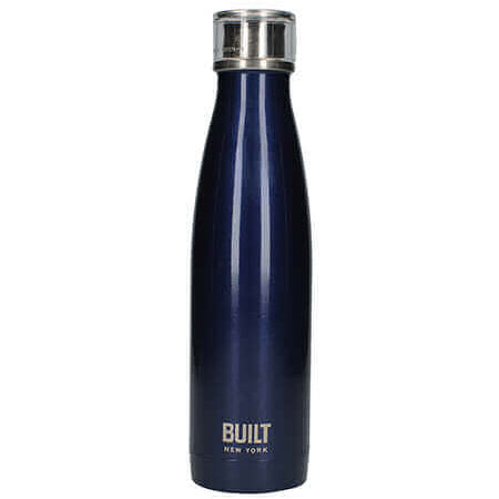 Built Double Walled Stainless Steel Water Bottle 17oz 500ml Midnight Blue