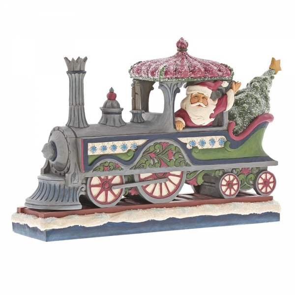 Jim Shore Heartwood Creek - Delivering A Merry Christmas Victorian Santa in Train