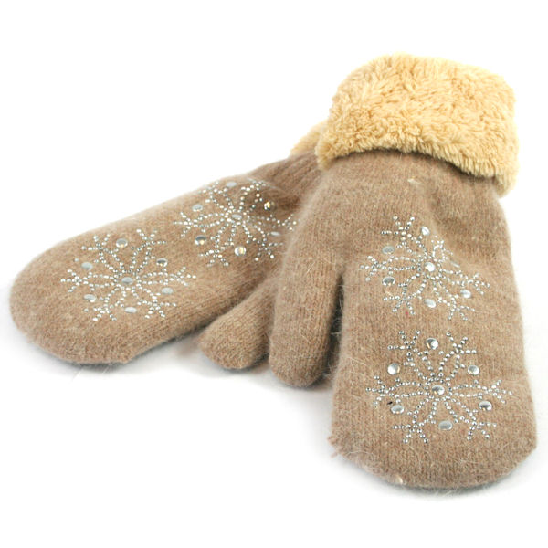 Gloves / Mittens with Diamante Snowflake Decoration - Taupe