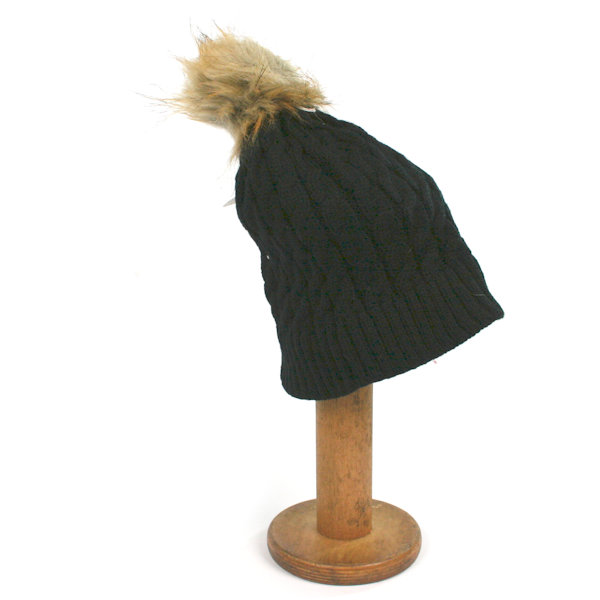 Bobble Pom Pom Hat with Cosy Lining - Black