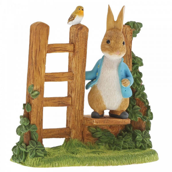 Beatrix Potter - Peter Rabbit on Wooden Stile Figurine