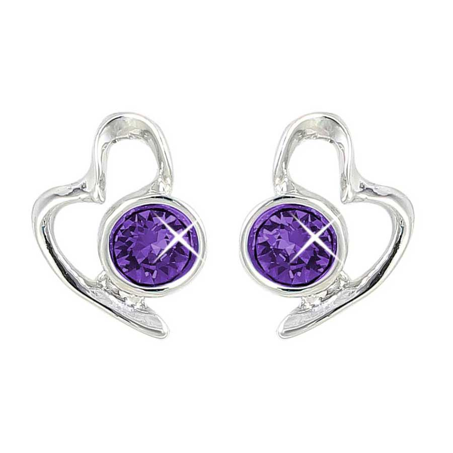 Lila Jewellery Heart Studs - February