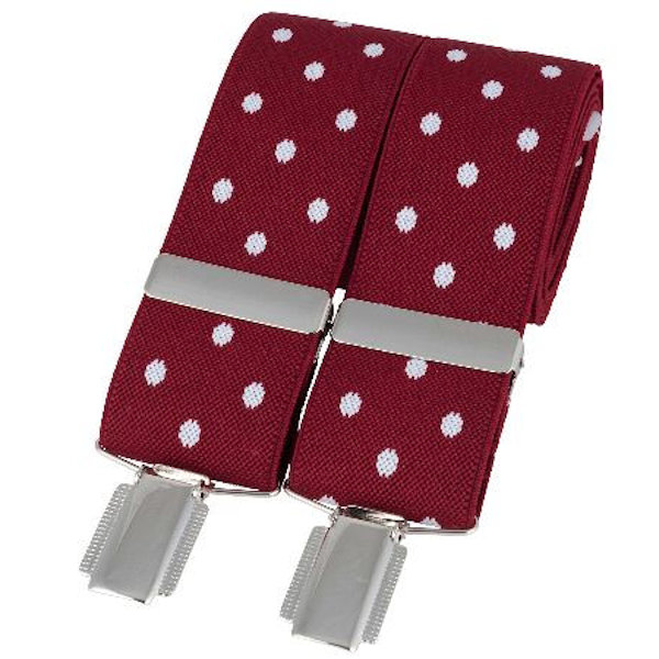 Red with White Spots 33mm Silver Clip Elasticated Braces