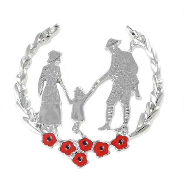 Poppy Brooch - Family with Red Poppies in Wreath