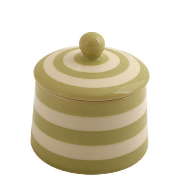 Fairmont & Main Kitchen Stripe Green Covered Sugar