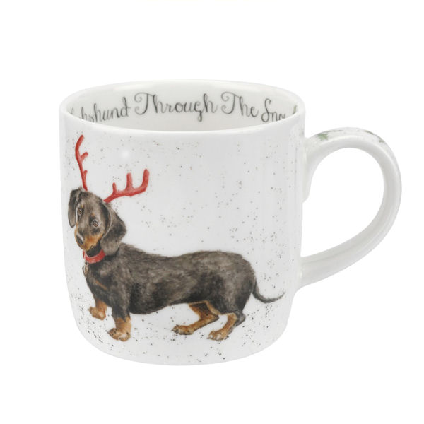 Royal Worcester Wrendale Designs - Christmas Mug - Dachshund Snow (Dog)