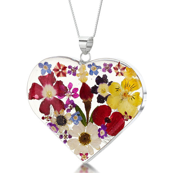 Shrieking Violet Mixed Flowers Pendant - Large Heart