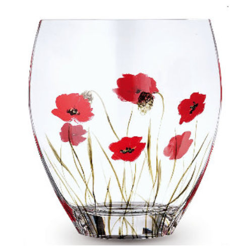 Nobile Glass Poppy Fields Curve Vase 21cm 2026-19