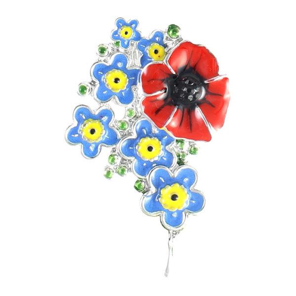 Poppy Brooch - Red Poppy and Forget Me Not