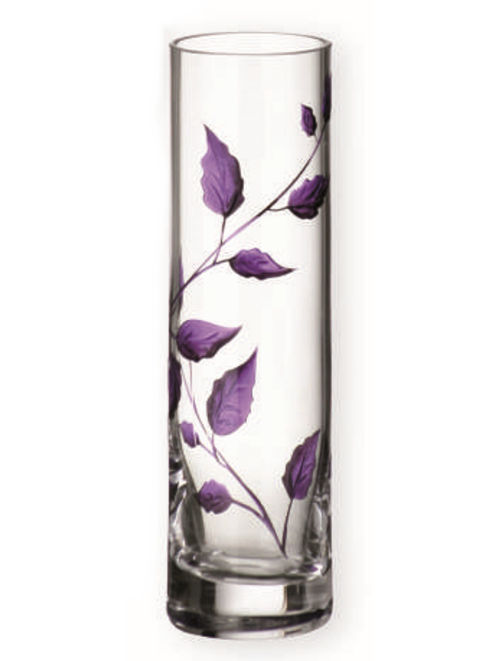 Nobile Glass Purple Leaf 19.5cm Vase