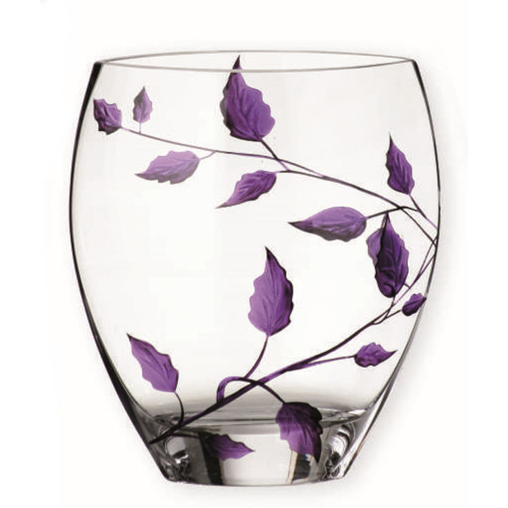 Nobile Glass Purple Leaf Curved 21cm Vase