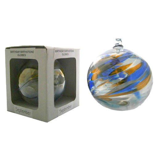 Amelia Birthstone Glass Friendship Ball - September in Blue and Gold