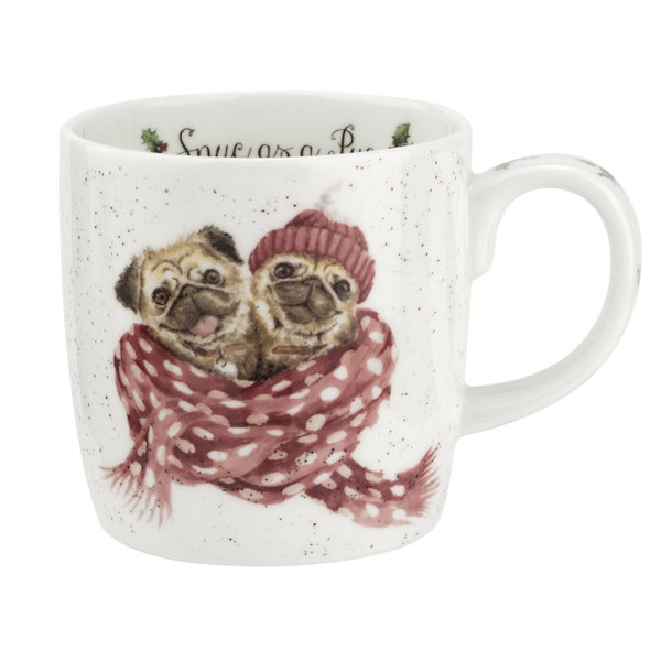 Royal Worcester Wrendale Designs - Mug - Pug - Snug as a Pug