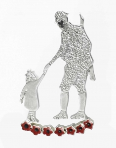 Poppy Brooch - Soldier with Child
