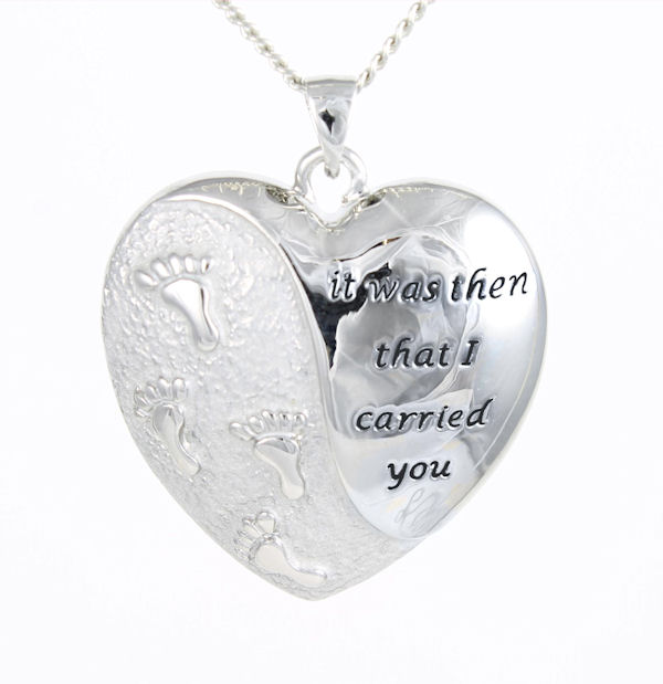 Christian Pendant - Footprints Large Heart