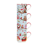 Christmas Gift Owls Porcelain Stacking Mugs in Gift Box