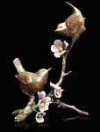 Bronze Wren Pair on Apple Blossom Limited Edition 150