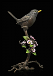 Bronze Hand Painted Blackbird with Blossom - Limited Edition of 150