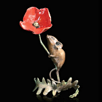 Bronze Hand Painted Mouse with Poppy Limited Edition