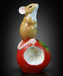Fine Bone China Mouse on Apple Miniature by Keith Sherwin