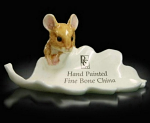 Fine Bone China Mouse on Leaf Miniature by Keith Sherwin