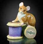 Fine Bone China Mouse on Antique Cotton Reel Miniature by Keith Sherwin