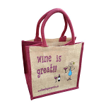Jute Shopping Bag - Wine is Great
