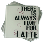 Coffee Latte Glass Coasters - Set of 4