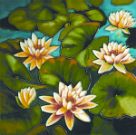 Ceramic Art Tile - Floating Water Lily 12in x 12in