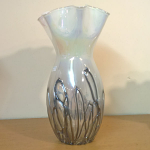 Amelia Art Glass Vase in White with Black Lines 31cm