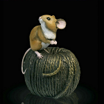 Bronze Hand Painted Mouse on Ball of Twine