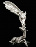 Richard Cooper Studio - Nickel Plated Resin - Giraffe Mother & Baby Calf