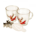 Rudolph Cappuccino Glass Drink Gift Set Coffee Cookie Cutter