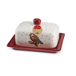 Cooksmart Christmas Red Red Robin Butter Dish