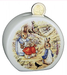 Peter Rabbit & Family Porcelain Round Piggy Bank Money Box
