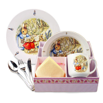 Beatrix Potter Peter Rabbit & Family Eating Set in Basket