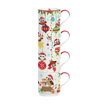 Christmas Festival Owls Porcelain Stacking Mugs in Gift Box