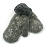 Gloves / Mittens with Diamante Star Decoration - Silver/Grey