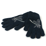 Gloves with Diamante Dragonfly Decoration - Navy