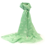 Embossed Feathers Scarf - Mint Green