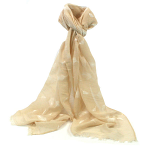 Embossed Feathers Scarf - Cream
