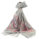 Large Roses Scarf - Grey & Pink