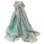 Large Roses Scarf - Grey & Green
