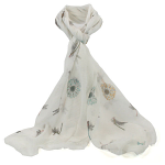 Dragonflies Scarf - White