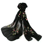 Embroided Flower Scarf - Black