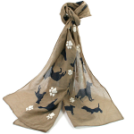 Dog and Paw Scarf - Brown