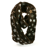 Snood Scarf - Taupe with Silver Stars