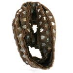 Snood Scarf - Taupe with Silver Hearts